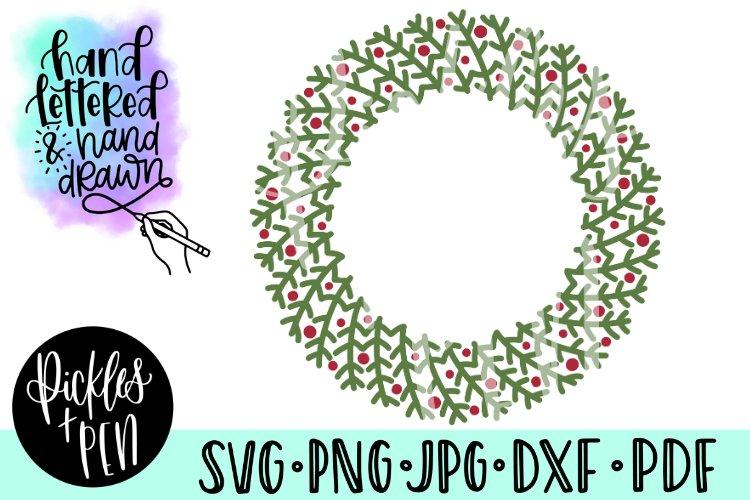 christmas wreath svg - christmas frame cut file example image 1