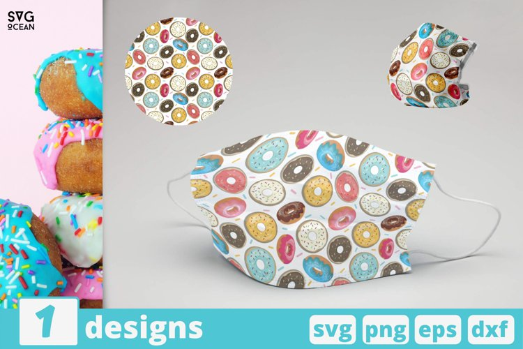 DONUTS FACE MASK svg pattern, tasty donuts mask pattern example image 1