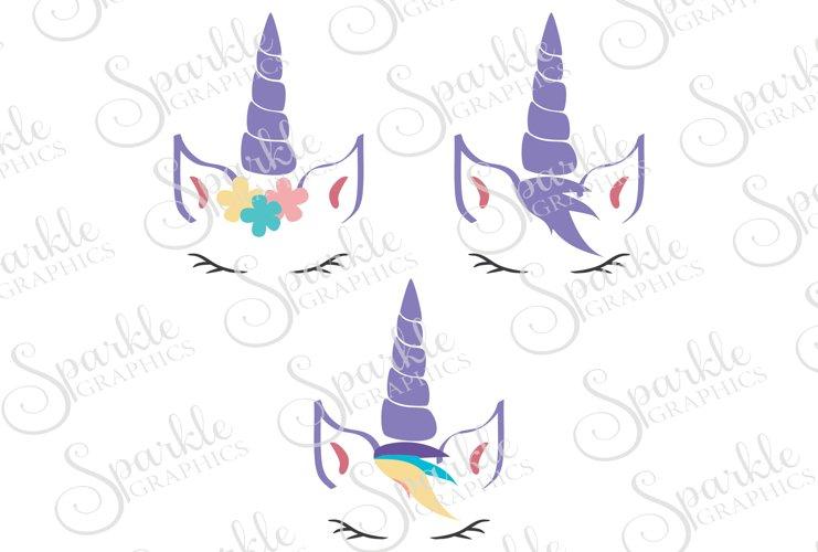 Unicorn Face Cut File Set | SVG, EPS, DXF, PNG example image 1