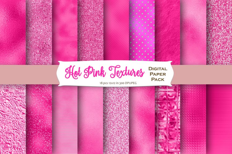 Hot Pink Foil Textures Digital Paper example image 1