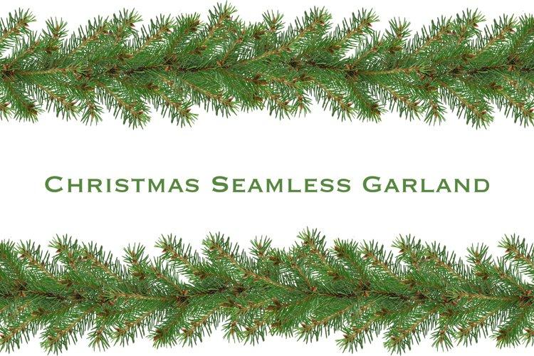 Seamless Christmas Fir Garland on transparent background