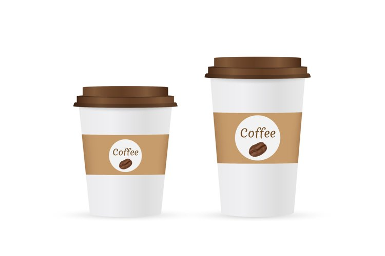 Close up take-out coffee with brown cap and cup holder. Isol example image 1