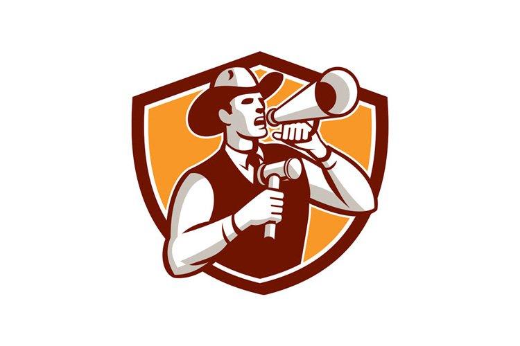 Cowboy Auctioneer Bullhorn Gavel Shield example image 1