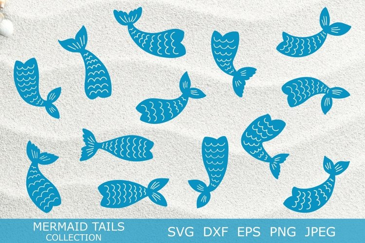 Mermaid tails silhouettes SVG DXF PNG EPS Cutting Files. example image 1