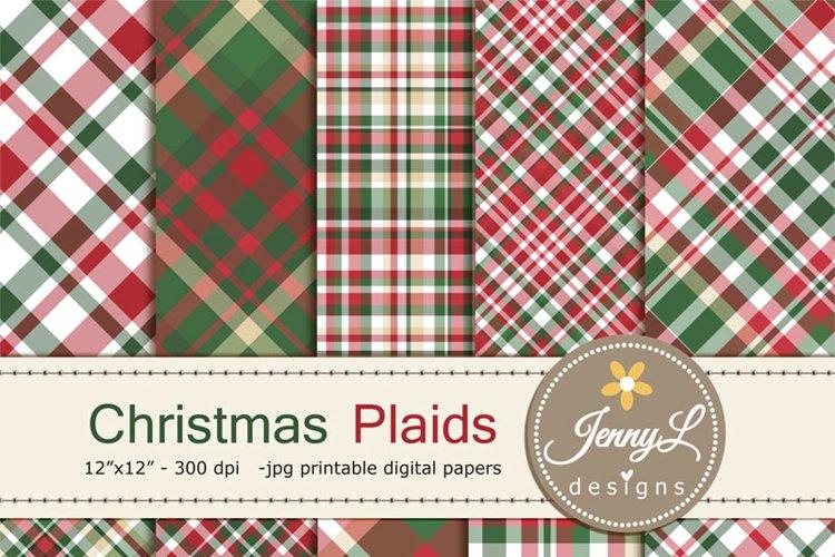 Christmas Plaid Digital Papers example image 1