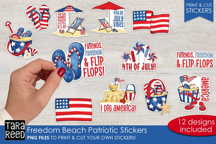 Freedom Beach Patriotic Sticker Bundle PNG - Print & Cut