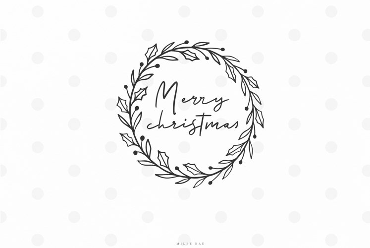 Merry christmas wreath svg cut file example image 1