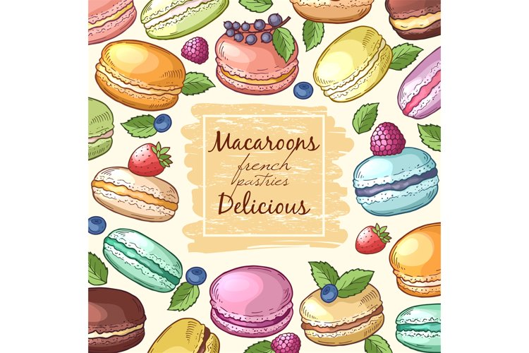 Poster with colored illustrations of macaroons. Background w example image 1