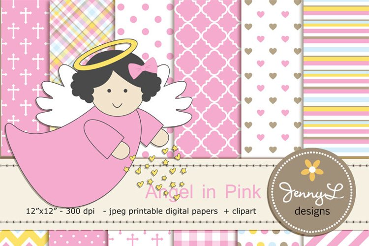 Girl Baptism Angel Digital Papers and  Angels Clipart example image 1