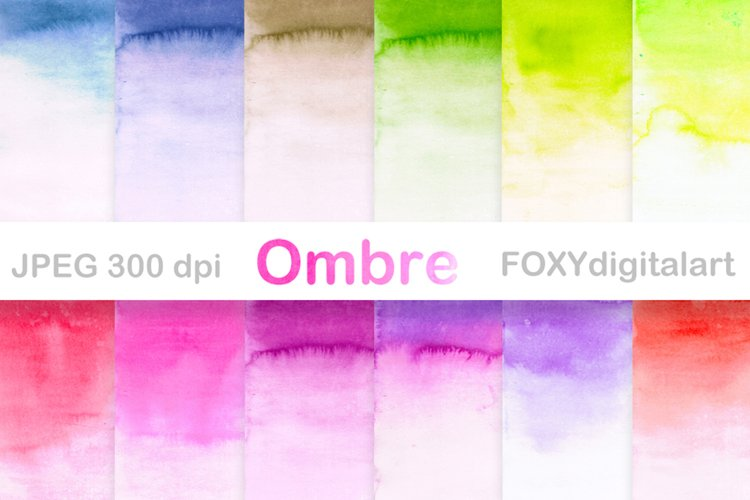 Watercolor ombre background ombre digital papers scrapbook example image 1
