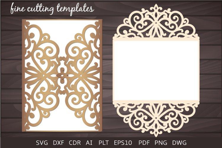 Download Wedding Invitation Laser Cut Svg 5x7 Gate Fold Card Template 433899 Invitations Design Bundles