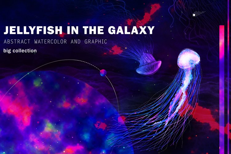 Jellyfish in the Galaxy Abstract set example image 1