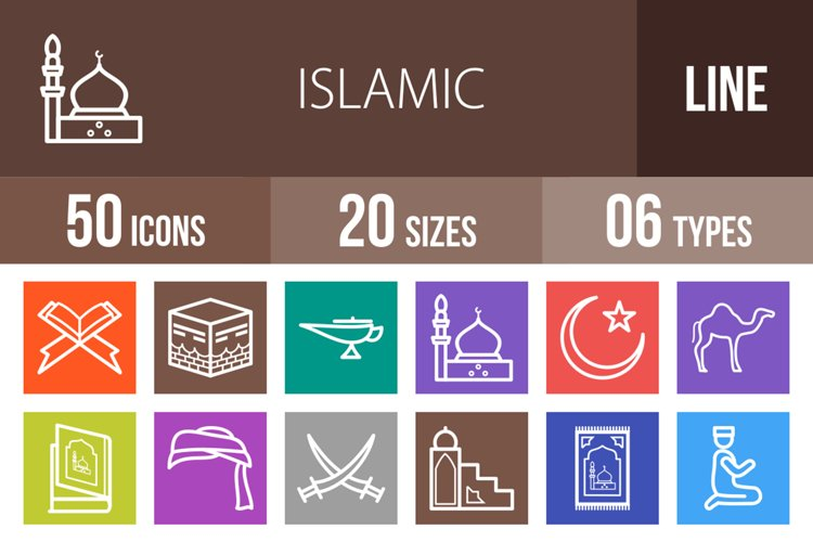 50 Islamic Line Multicolor B/G Icons example image 1