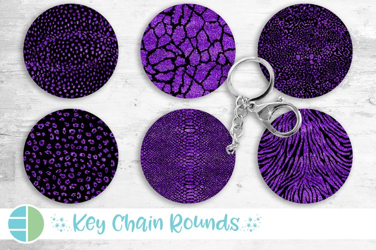 Animal Print Black and Purple Glitter Keychain Bundle Key example image 1