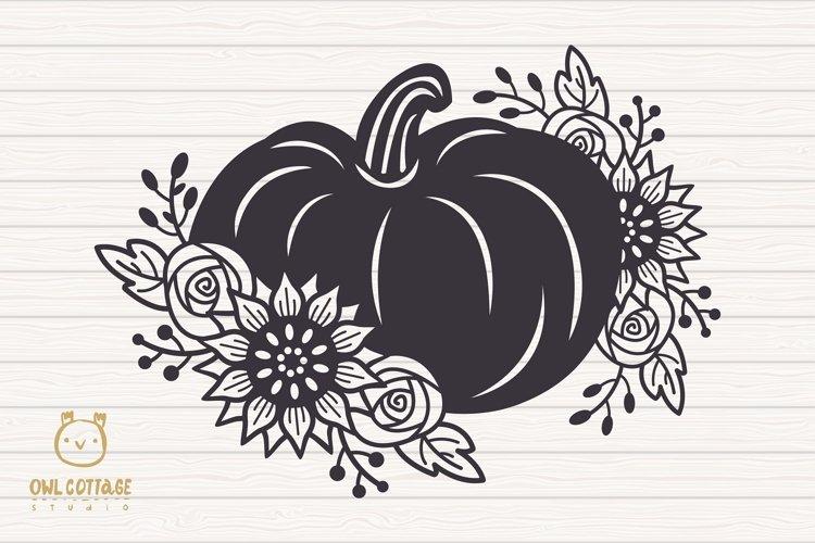 Floral Pumpkin svg, Halloween Floral Decor, Fall svg example 1