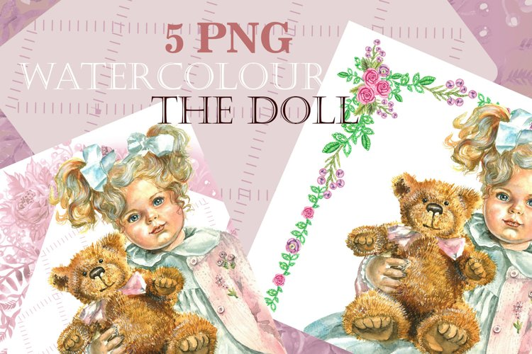 Art Baby Funny, Doll clipart, Watercolor clipart-cute doll, example image 1