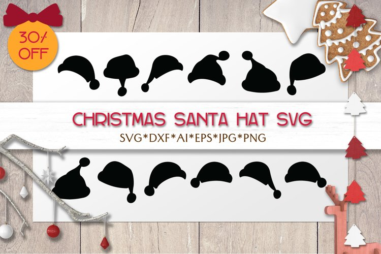 Christmas SVG Santa Claus Hat | Christmas Silhouettes | DXF example image 1