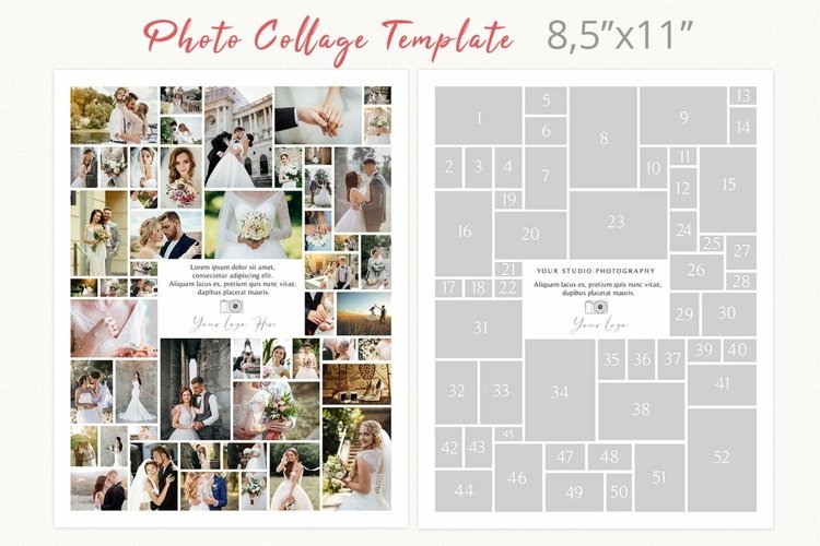 Letter size photography collage template, 8.5 x 11 photoshop