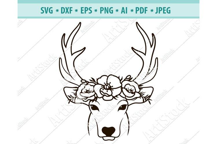 Deer SVG file, Deer with Flower Crown Svg, Png ,Dxf, Eps example image 1