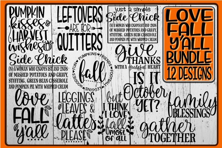 LOVE FALL Y'ALL Bundle - 12 Designs Included example image 1