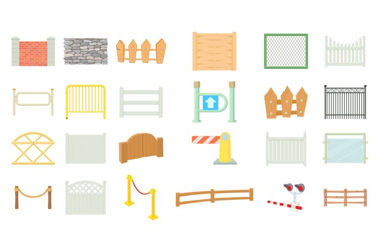 Barrier icon set, cartoon style example image 1
