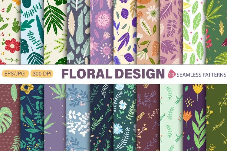 Seamless patterns with Flowers and Leaves. example image 1