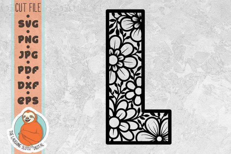 Flower Filled Letter L SVG - Floral Letter Cut File