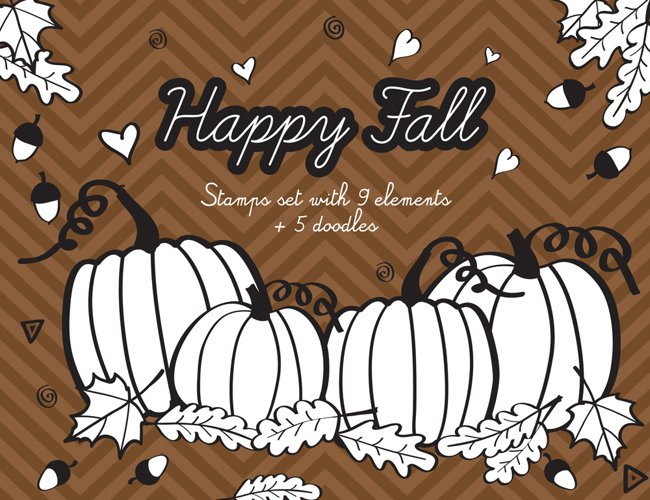 Happy Fall Digital Stamps with acorns, leafs and pumpkins example image 1