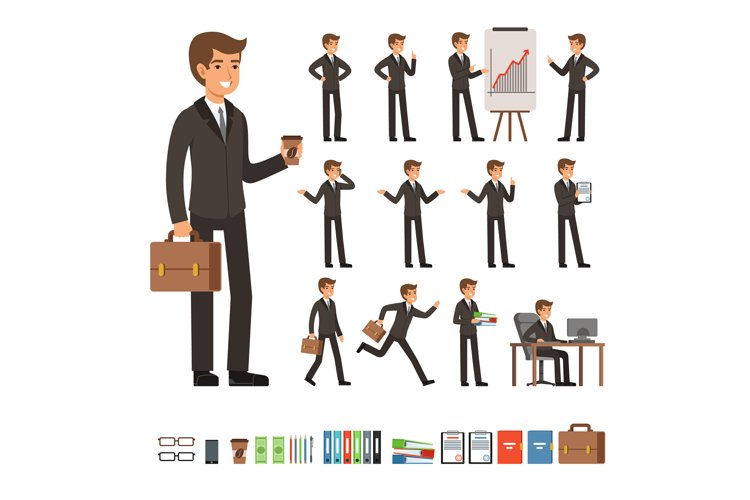 Vector set of businessman in different action poses with acc example image 1