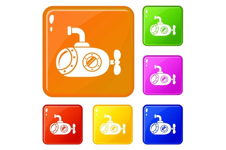 Bathyscaphe icons set vector color example image 1