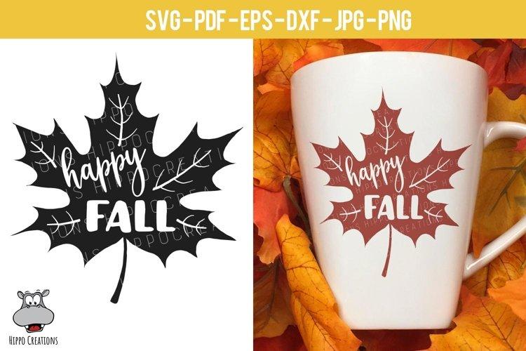 Happy Fall Leaf SVG, Autumn Leaf, Fall Leaf, EPS, DXF, PNG example image 1