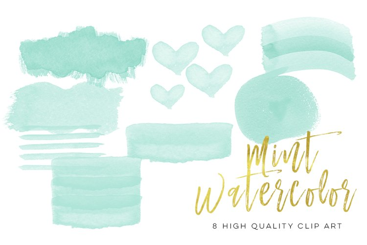 mint watercolor strokes, Green Mint Watercolor Strokes, Wall Art Print, Watercolor clipart strokes banners, Social media Splashes Clipart example