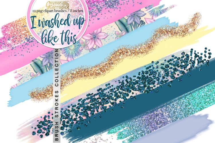 Mermaid paint brush strokes collection example image 1