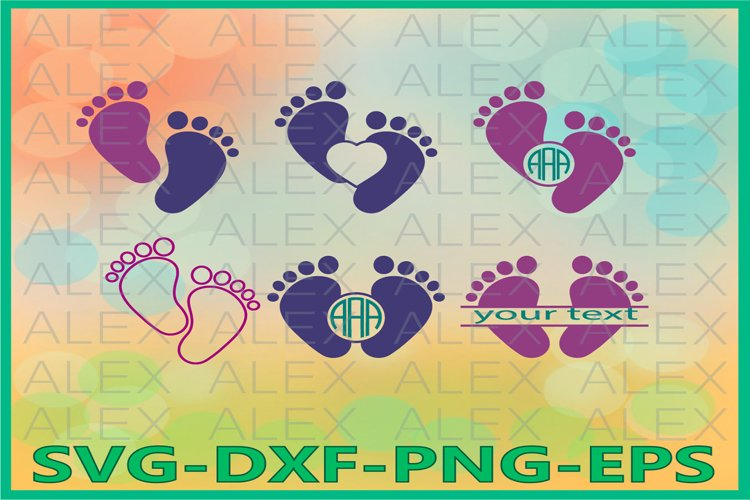 Baby Feet Svg, Baby Monogram Svg