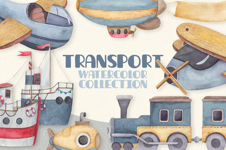 Baby transport watercolor set, airplane, submarine, train