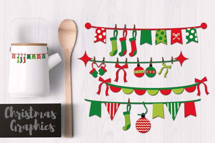 Christmas Pennant Bunting Banners Clip art Graphics example image 1