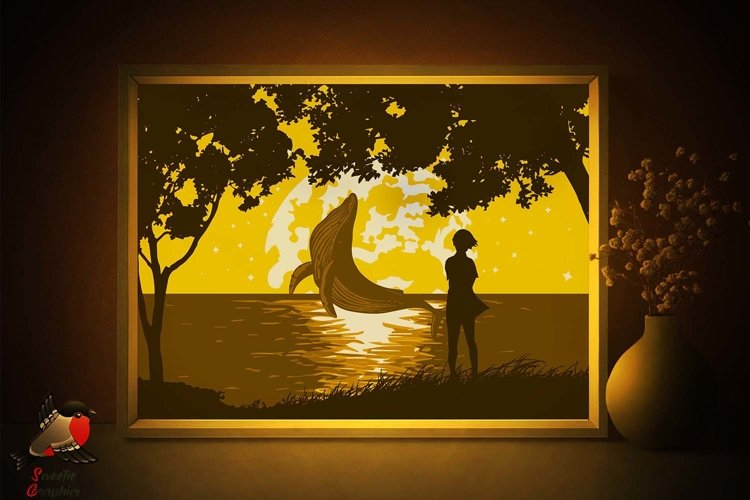 Anime Ocean Whale Lightbox Shadow Box SVG Template example image 1