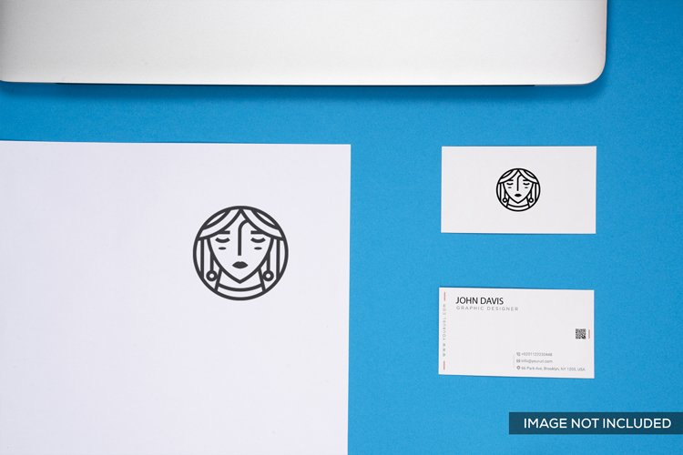 6 Business Card Mockup in Blue example image 1