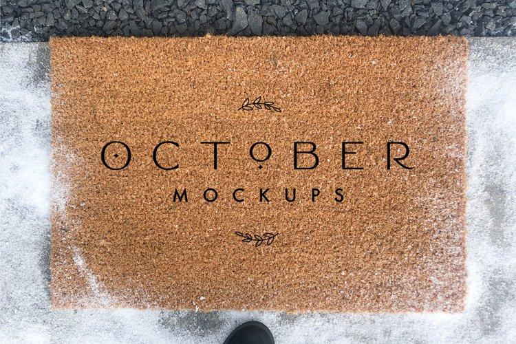 Winter Doormat Mockup | JPG and PSD smart object example 1