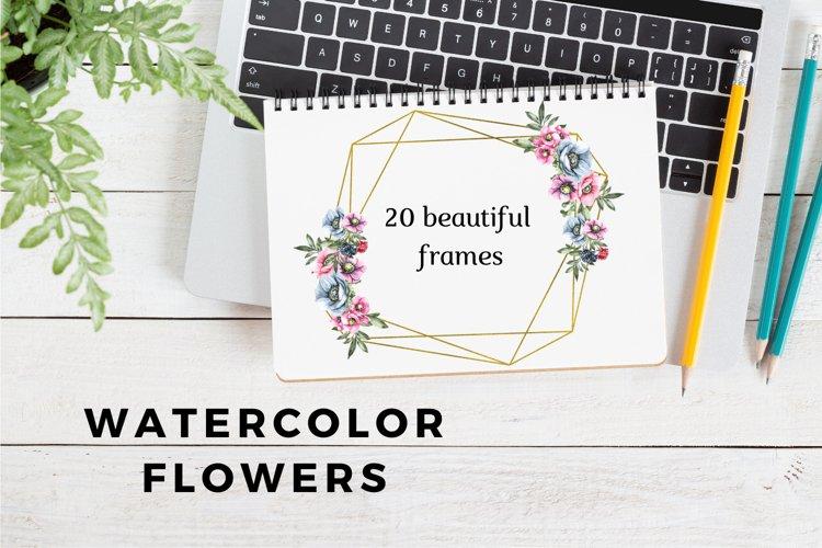 Watercolor Geometric Frames, Floral Rustic Wedding Frames