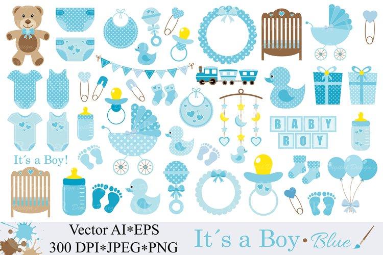 Baby Boy Clipart / Blue Baby Shower Clipart / Nursery Clip art / It`s a boy / Graphics / Illustration / Vector