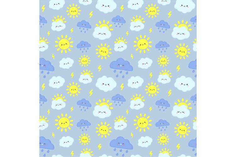 Cute rain sky pattern. Smiling happy sun, thunderclouds with example image 1