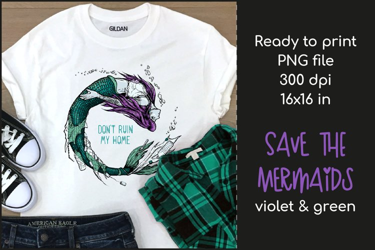 Polluted Mermaid T-shirt Design, Mermaid Sublimation PNG example image 1