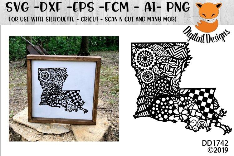 Zentangle Louisiana SVG Cut File For Silhouette - Cricut example image 1