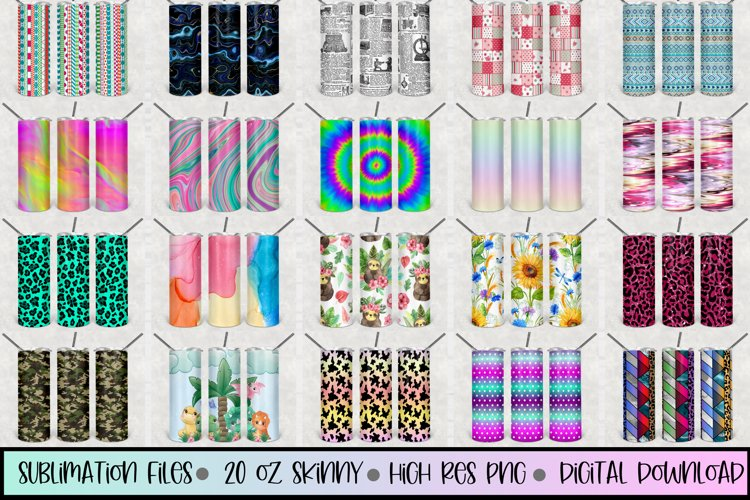 20oz STRAIGHT Skinny Tumbler Sublimation files 200 high res