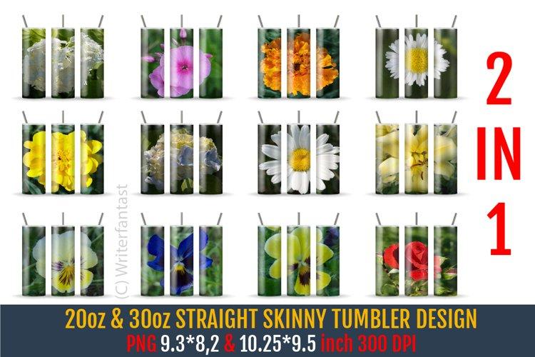 20oz & 30oz STRAIGHT Skinny Tumbler Sublimation, Flowers
