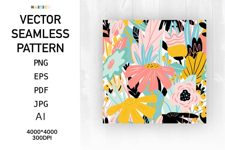 Abstract floral pattern, hand-painted flowers and leaves