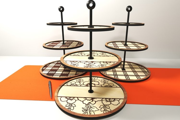 Tiered tray design, 3 styles. Glowforge ready vectors.