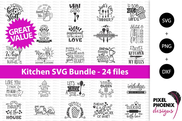 Kitchen Bundle SVG files x 24 - Kitchen SVGs