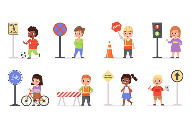 Kids traffic rules. Safety road movement, young pedestrians